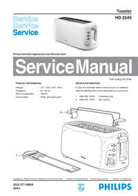 Servicehandboek Philips HD 2549