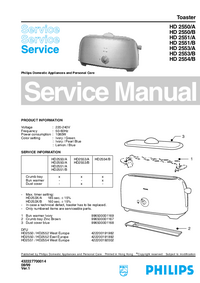 Servicehandboek Philips HD 2550/B