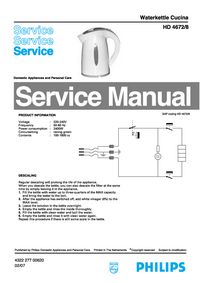 Manual de servicio Philips Cucina HD4672/8