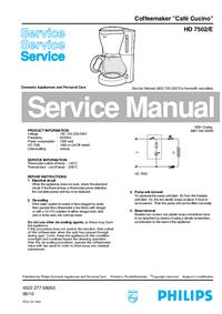 Manual de serviço Philips Café Cucino HD 7502/E