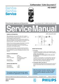 manuel de réparation Philips Cafe Gourmet II HD 5400/7