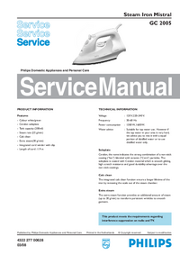 Manuale di servizio Philips Mistral GC 2005