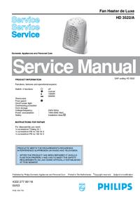 Instrukcja serwisowa Philips Fan Heater de Luxe HD 3522/A