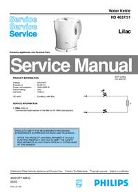 Servicehandboek Philips HD 4631