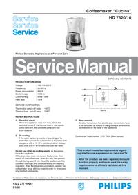 Руководство по техническому обслуживанию Philips Cucina HD 7520/16