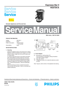 Manual de servicio Philips Espresso Bar II HD5704/A