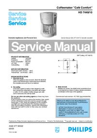 Manual de serviço Philips Café Comfort HD 7440/10