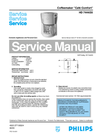Service Manual Philips Café Comfort HD 7444/20