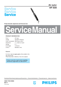 Service Manual Philips Air styler HP 4600