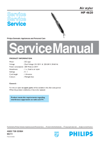 Servicehandboek Philips Air styler HP 4620