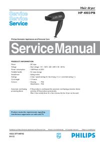 manuel de réparation Philips HP 4803/PB