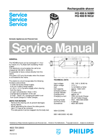 Manual de servicio Philips HQ 488/A NiMH