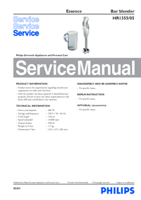 Servicehandboek Philips Essence HR1355/05