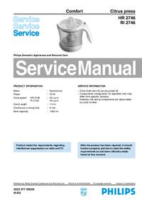 Servicehandboek Philips Comfort HR 2746