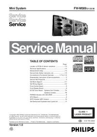 Manuale di servizio Philips FW-M589