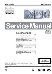 Manual de servicio Philips FW-C777