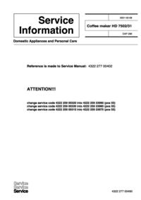 Servicehandboek Extension Philips HD 7502/31