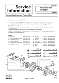 Service Manual Supplement Philips HR 8508/D
