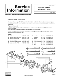 Service Manual Supplement Philips HR 8581/D
