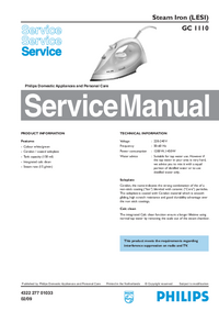 Service Manual Philips GC 1110