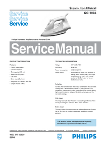 Service Manual Philips Mistral GC 2006