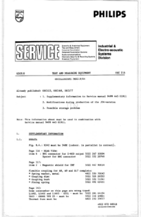 Service Manual Supplement Philips PM3219