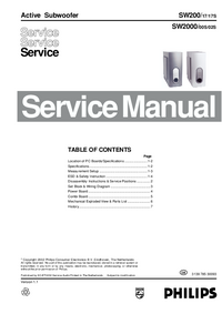 Manual de servicio Philips SW2000/00S