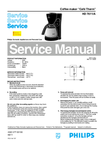 Manual de serviço Philips Café Therm HD 7611/A