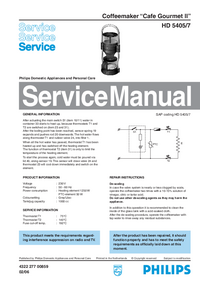 Service Manual Philips Cafe Gourmet II HD 5405/7