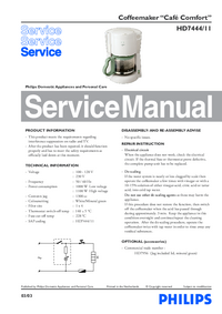 Service Manual Philips Café Comfort HD7444/11
