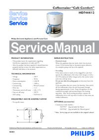 Manual de servicio Philips Café Comfort HD7444/12