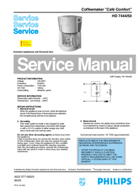 Service Manual Philips Café Comfort HD 7444/50