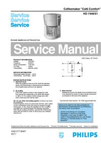 Manual de servicio Philips Café Comfort HD 7444/51
