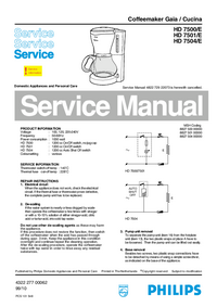 Service Manual Philips Gaia / Cucina HD 7504/E