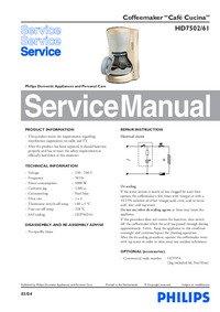 Service Manual Philips Cafe Cucina HD7502/61