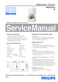 Руководство по техническому обслуживанию Philips Cucina HD7524/16/B