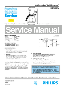 Manual de servicio Philips Cafe Essence HD 7605/A
