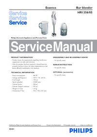 Manual de servicio Philips Essence HR1356/05
