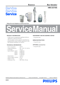 Service Manual Philips Essence HR1357/05