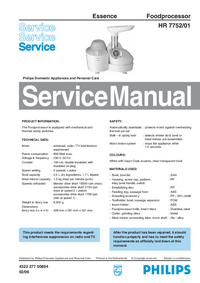 Service Manual Philips Essence HR 7752/01