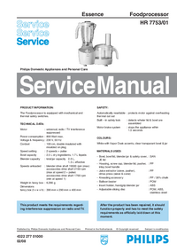 Servicehandboek Philips Essence HR 7753/01