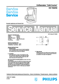 Service Manual Philips Café Cucina HD 7500/90