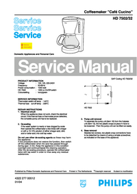 Service Manual Philips Café Cucino HD 7502/32