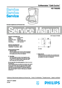 Service Manual Philips Café Cucino HD 7502/92