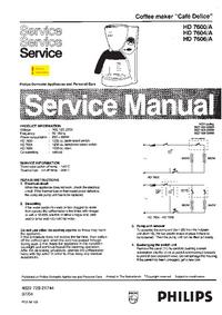 Manuale di servizio Philips Café Delice HD 7606/A