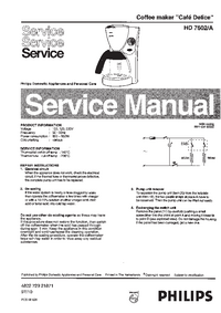 Service Manual Philips Cafe Delice HD 7602/A