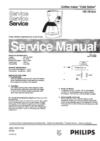 Service Manual Philips Café Delice HD 7610/A