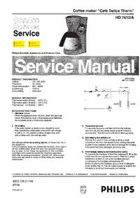 Servicehandboek Philips Café Delice Therm HD 7612/A