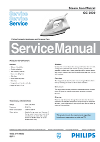 Service Manual Philips Mistral GC 2020
