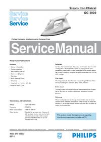 Servicehandboek Philips Mistral GC 2020